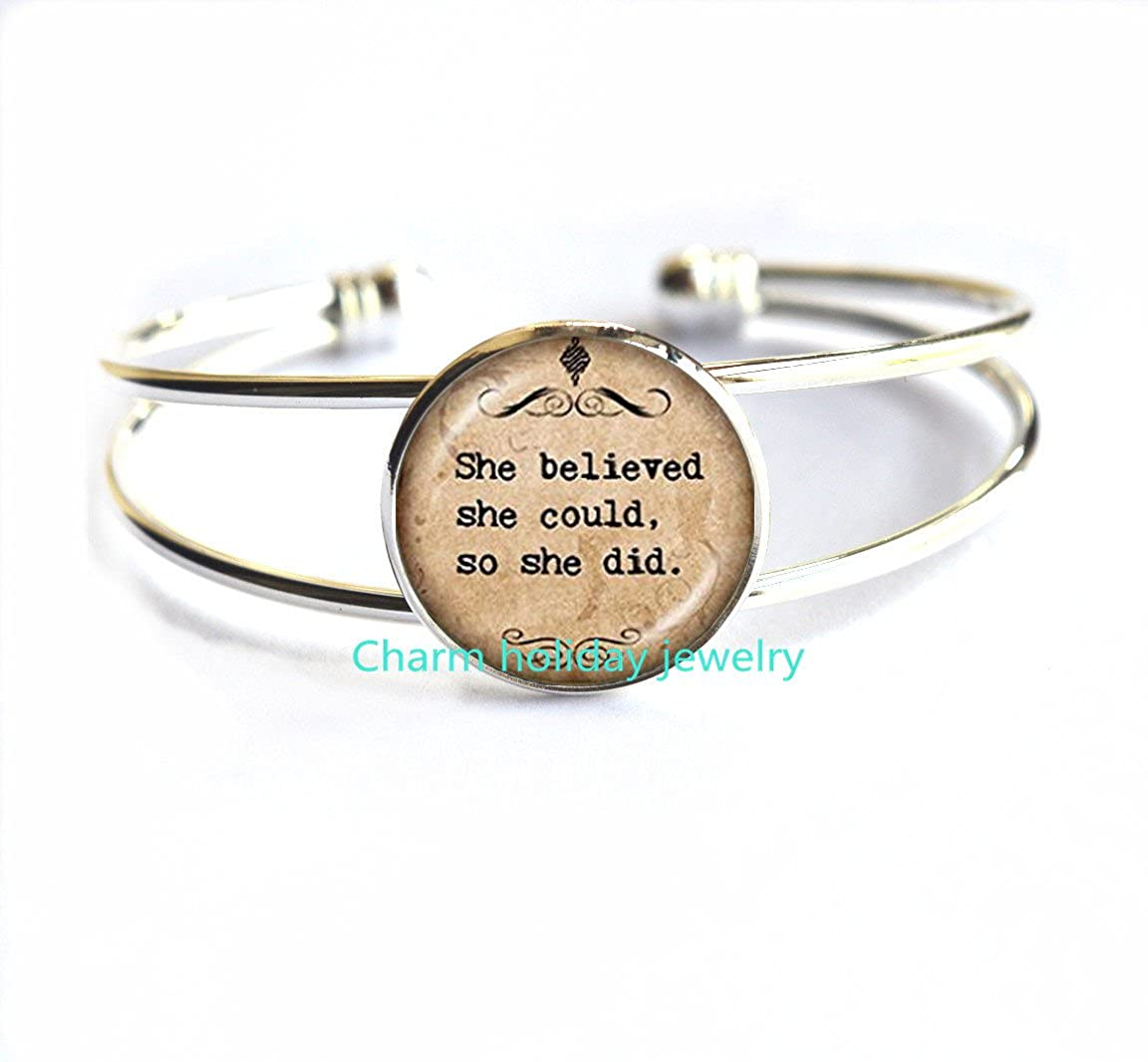 graduation jewelry.D0147 Sister Gift,She Believed She Could so She Did Chain Bracelets Bracelet Jewelry,motivational quote jewellery