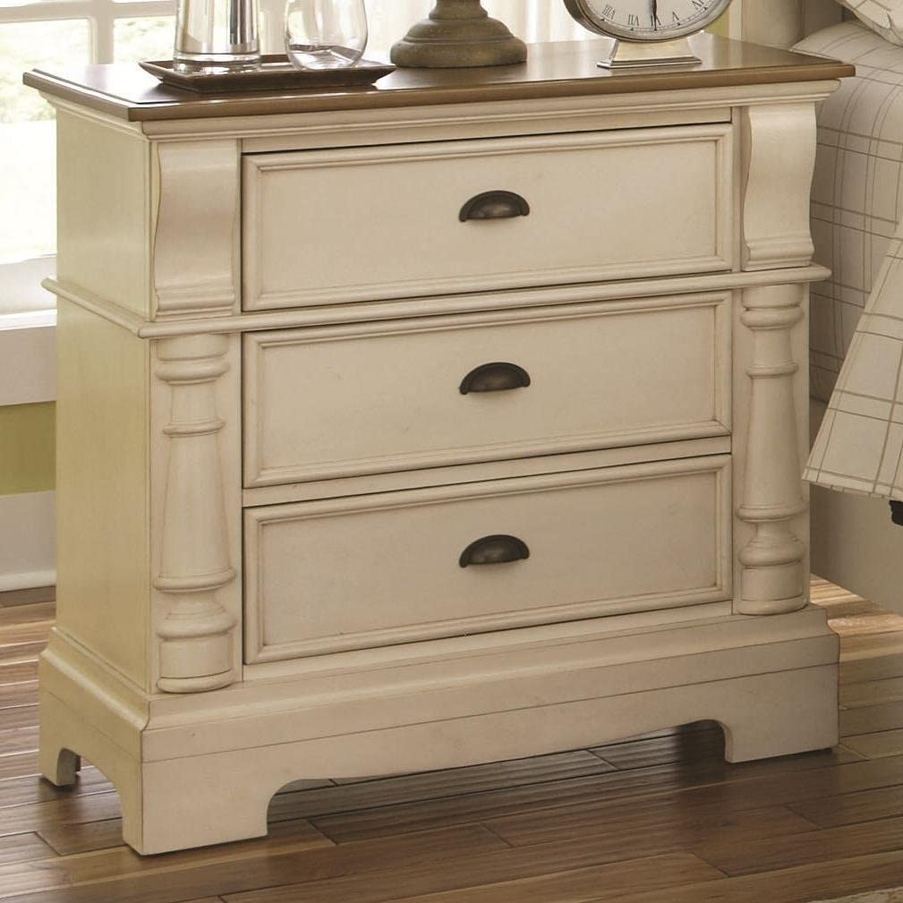 Oleta 3-drawer Night Stand with Bracket Feet Buttermilk and Brown