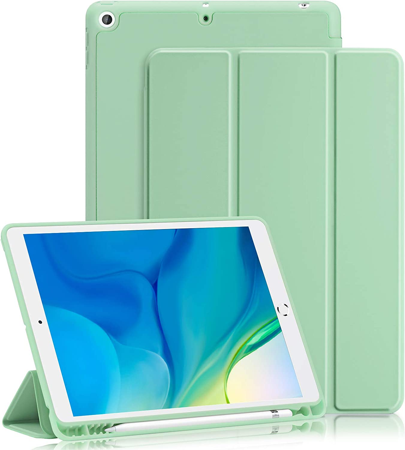 GHINL iPad 8th/7th Generation case (2020/2019) iPad 10.2-Inch Case with Pencil Holder [Sleep/Wake] Slim Soft TPU Back Smart Magnetic Stand Protective Cover Cases (Matcha Green)