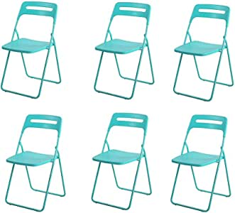 YCSD Sillas Plegables Plásticas Modernas De La Silla del Comedor De La Silla del Comedor De La Simplicidad Plegables Sillas del Hogar, Paquete De 6 (Color : Tiffany Blue): Amazon.es: Hogar