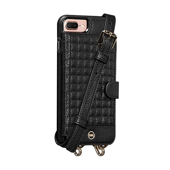 best website 2a509 c70a4 Sena Crossbody Snap on - Hands Free Drop Safe Crossbody Quilted Wallet case  for iPhone 8 Plus / 7 Plus / 6 Plus - Black
