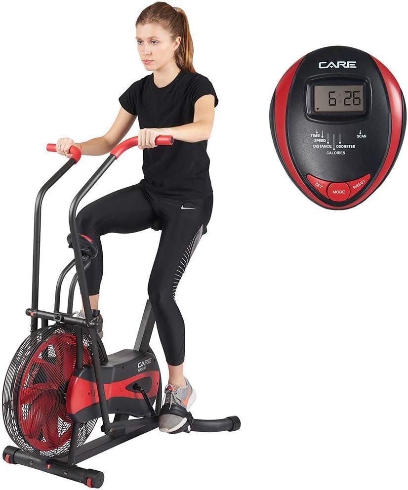 Care Fit CA-700 Air Bike hometrainer met luchtweerstand, 6 trainingsprogramma's, ellipstrainer, 2 in 1 6 functies voor bewaking van de effectfunctie, LCD-display, zwart