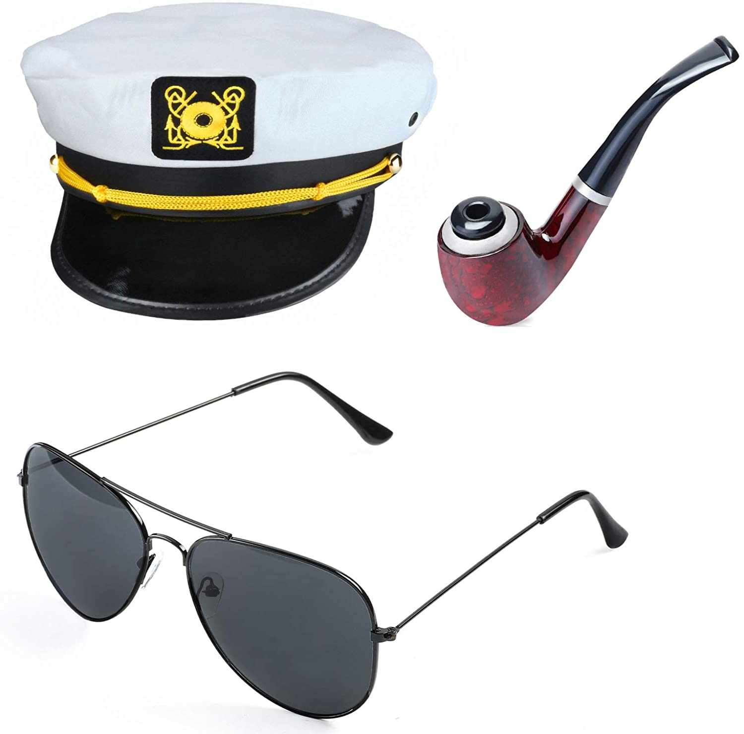 Beelittle Yacht Captain Hat Costume Accessories Set Sailor Hat with Corn Cob Pipe & Aviator Sunglasses