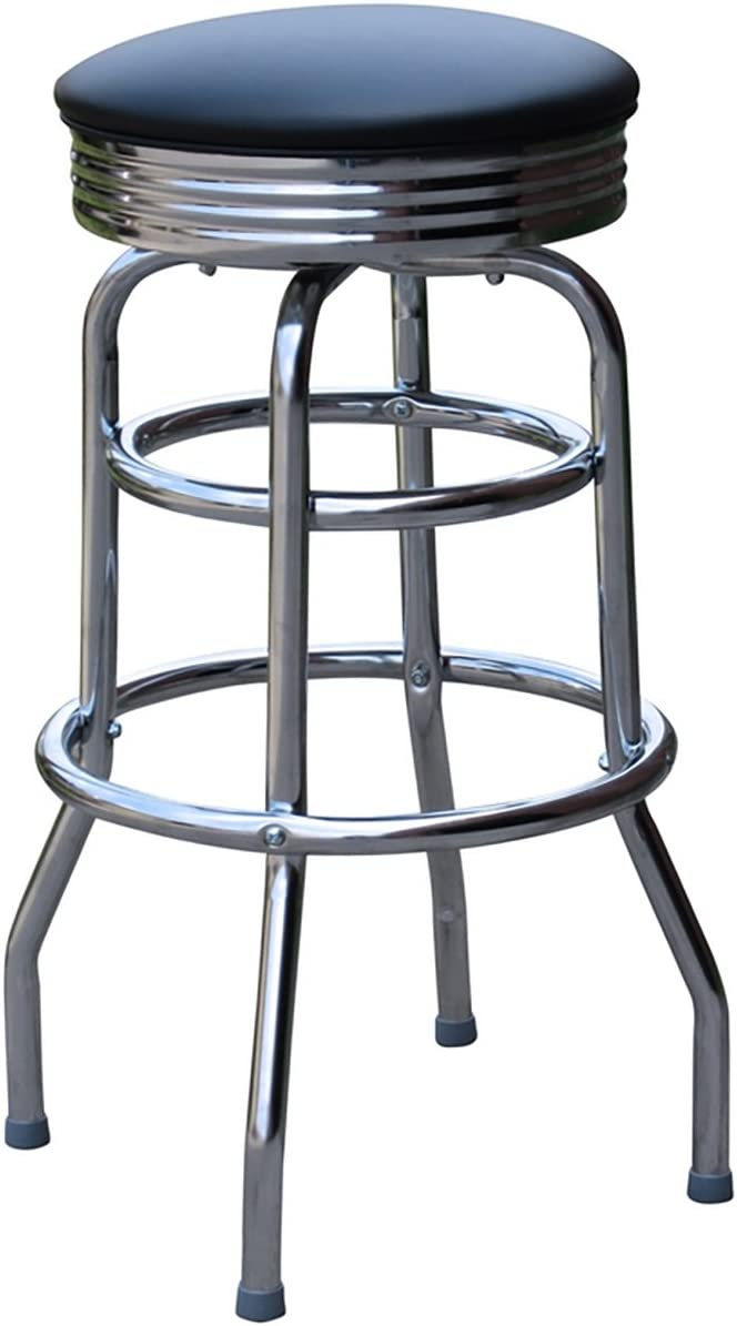 Richardson Seating Retro Chrome Swivel Metal Bar Stool, Black