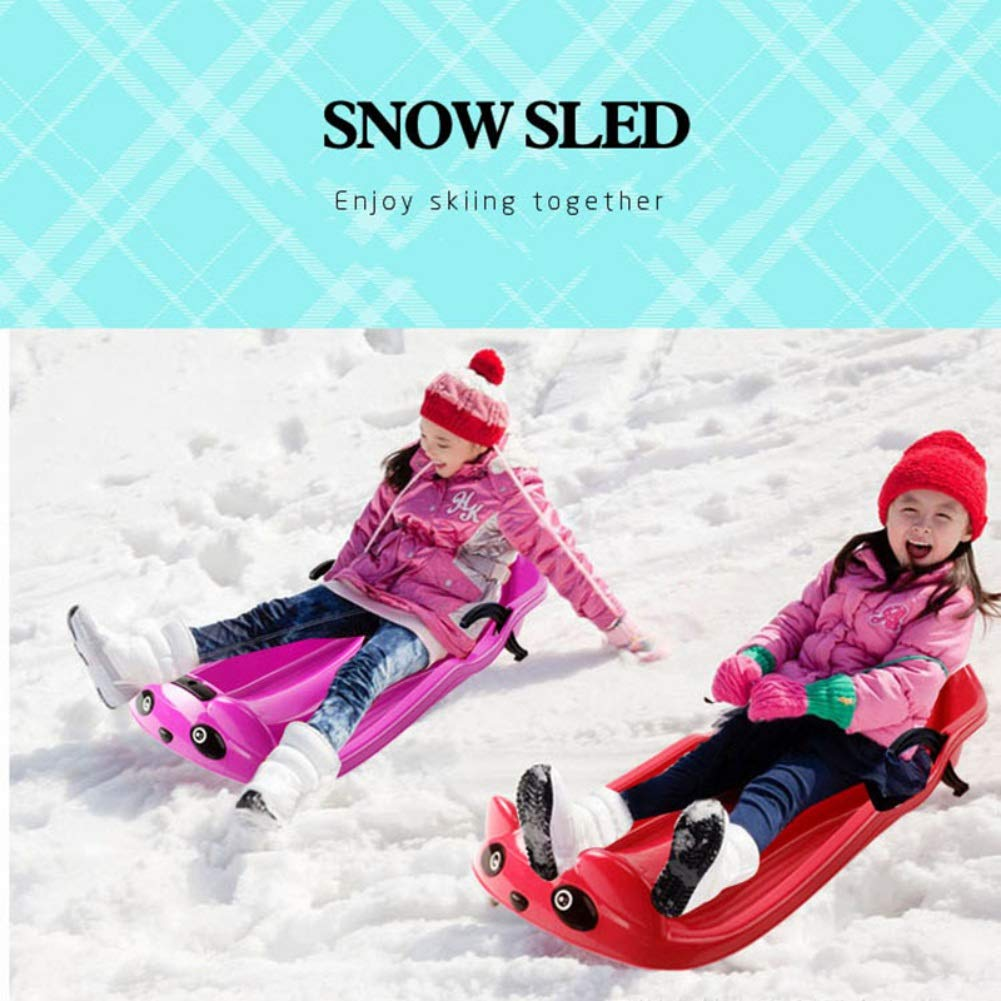 Facaily Snow Sled with Brake Thick Portable Sand Grass Slider Pad Board Toy with Handles for Children