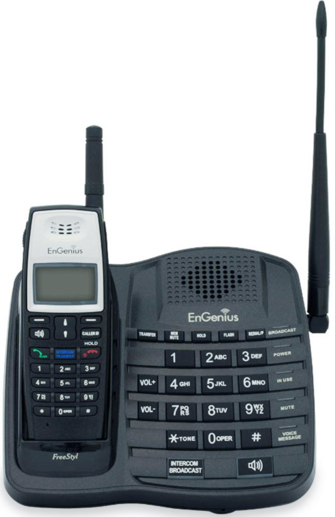EnGenius FreeStyl 1 Extreme Range Cordless Phone System; 6 floors in-building penetration; 25000 sq. ft. of facility coverage; 10 acres of property, open land coverage; Supports up to 9 Simultaneous H