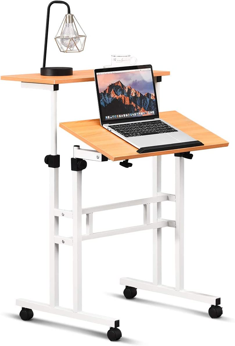 Tangkula Mobile Standing Desk, Height Angle Adjustable Stand Up Desk Computer Workstation, Movable Computer Desk with Tilting Surface 4 Rolling Wheels, Suitable for Sitting or Standing, Natural