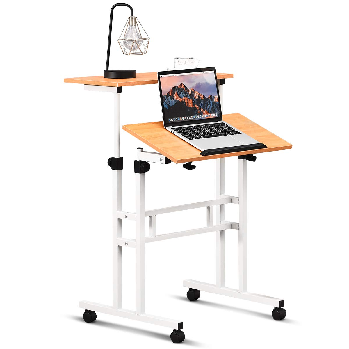 Tangkula Mobile Standing Desk, Height & Angle Adjustable Stand Up Desk Computer Workstation, Movable Computer Desk with Tilting Surface & 4 Rolling Wheels, Suitable for Sitting or Standing, Natural by Tangkula
