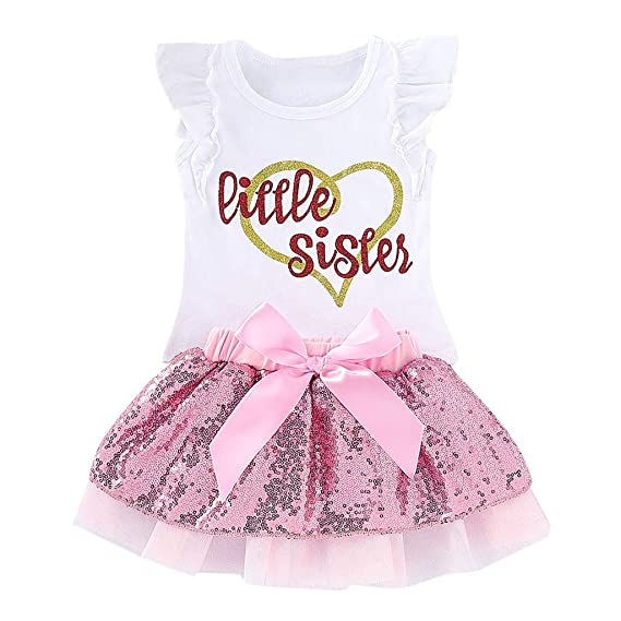 38318d228 Lehvoss Baby Dress Set Toddler Girls Little Sister T-Shirt Tops+Sequin Bow  Tutu Skirt Outfits White: Amazon.in: Clothing & Accessories