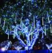 Meteor Shower Rain Lights Waterproof String for Wedding Party Christmas Xmas Decoration Tree Party Garden String Light Outdoor 10FT 8 Tube 144 led Lamp beads (White)