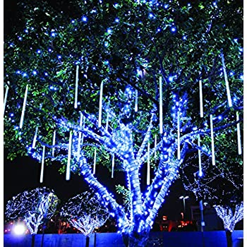 meteor shower rain lights waterproof string for wedding party christmas xmas decoration tree party garden string - Light Blue Christmas Lights