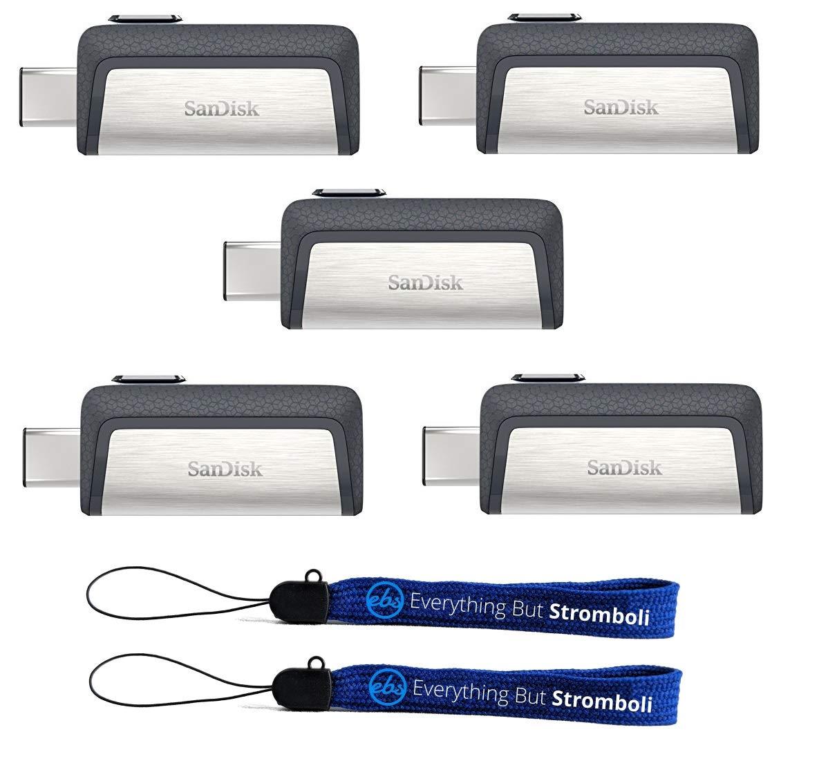 5 Pendrives SanDisk Ultra 16GB Dual Drive USB Type-C Five Pa
