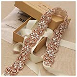Yanstar Handmade Rose Gold Bridal Wedding Belts Sash Crystal Belt Ivory Ribbon for Bridesmaid Prom Gowns