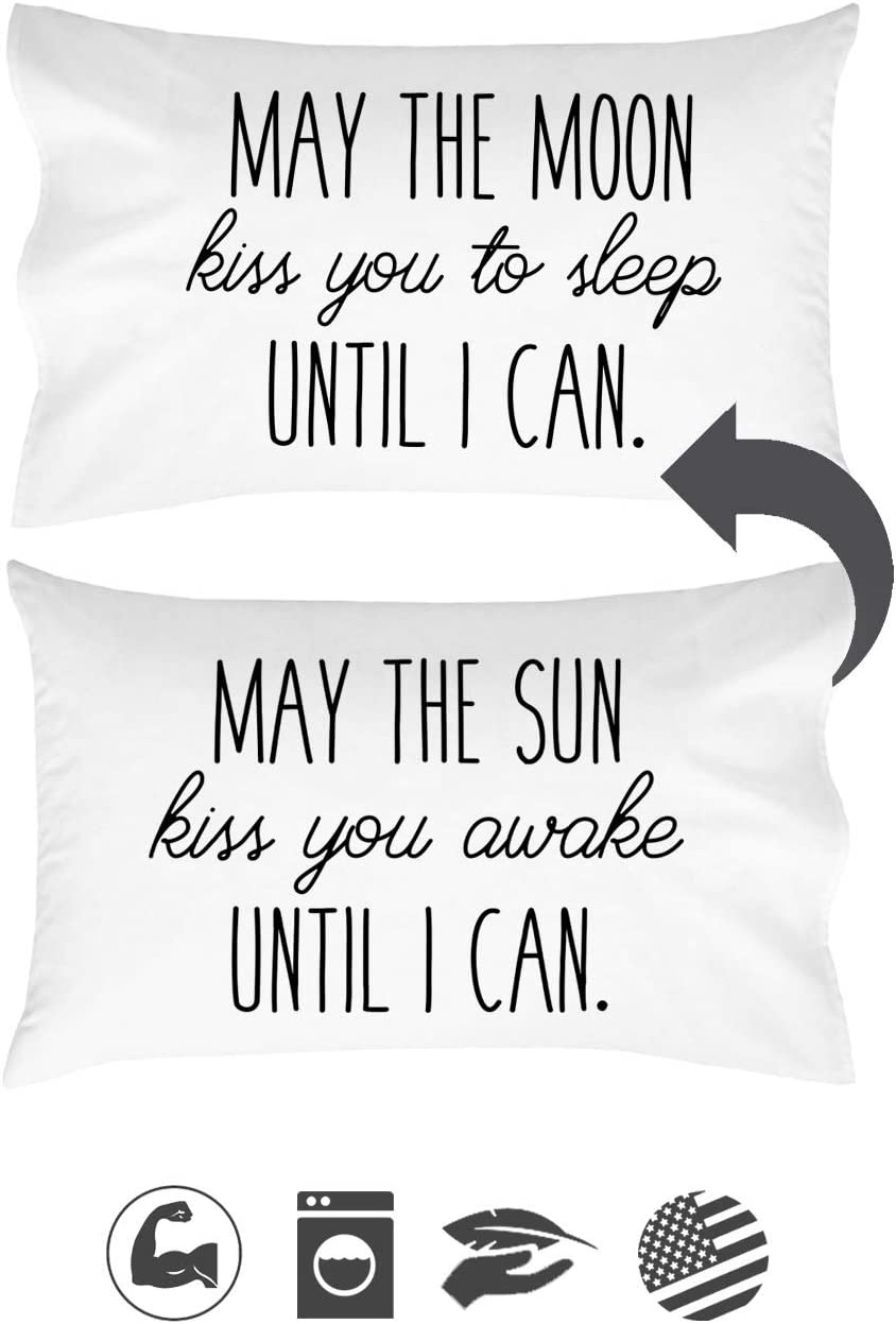 Oh, Susannah May The Sun Kiss You Awake Until I Can, May The Moon Kiss You to Sleep Until I Can Reversible Pillow Case - Fits Standard Pillow - Cute Girlfriends Gifts Anniversary