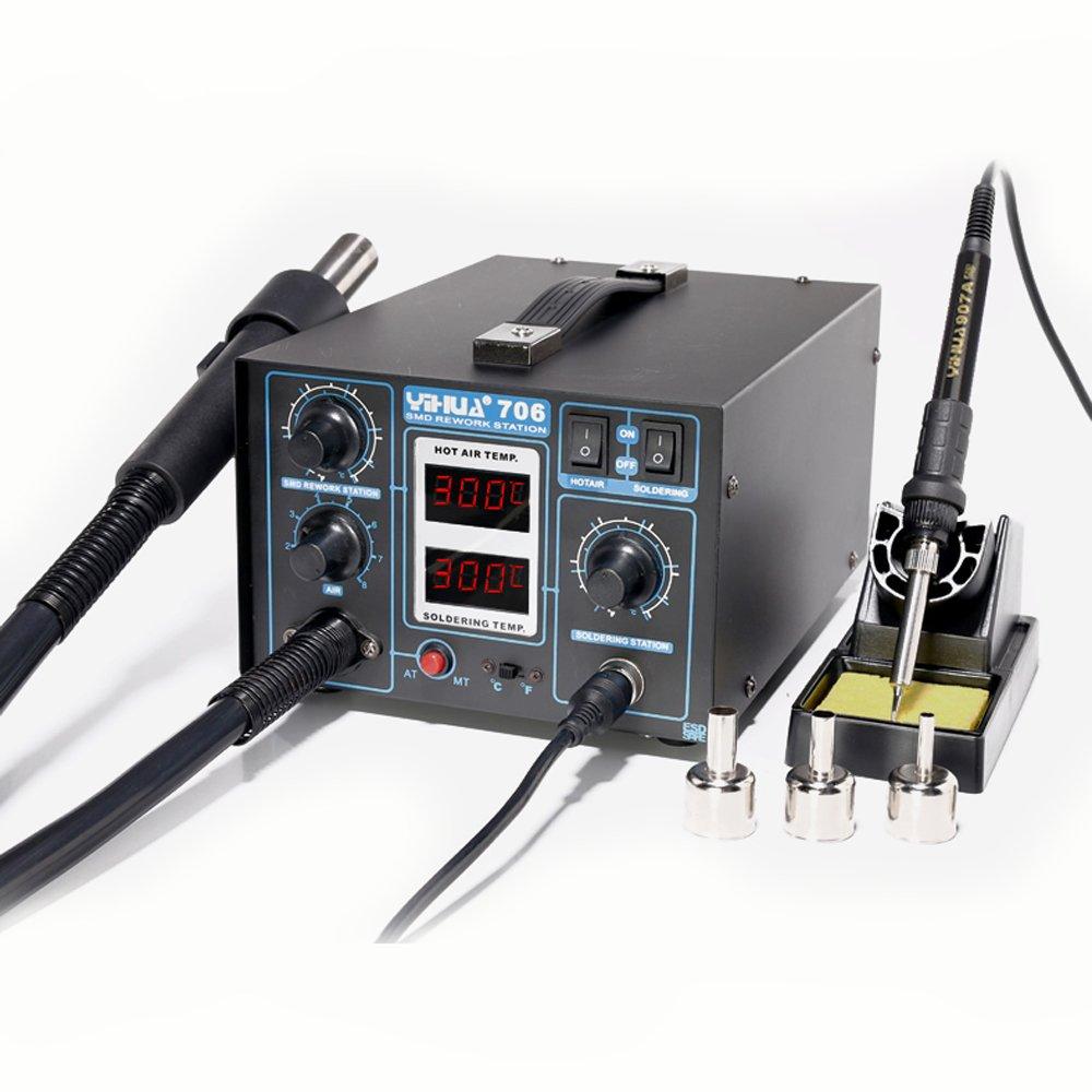 WEP 706 - Estación de soldadura de estaño de aire caliente profesional, con 5 puntas y 6 boquillas: Amazon.es: Bricolaje y herramientas