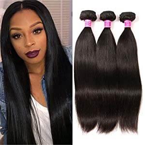 QinMei Brazilian Hair Straight Bundles 10A Grade 10 12 14 inches 100% Unprocessed Virgin Straight Human Hair 3 Bundles Weave Extensions Natural Color