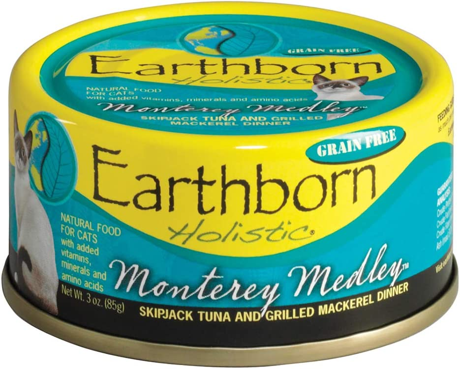 Earthborn Holistic Monterey Medley Skipjack Tuna and Grilled Mackerel Dinner Wet Cat Food, 3-Ounce Per Pacakge, 24-Pack
