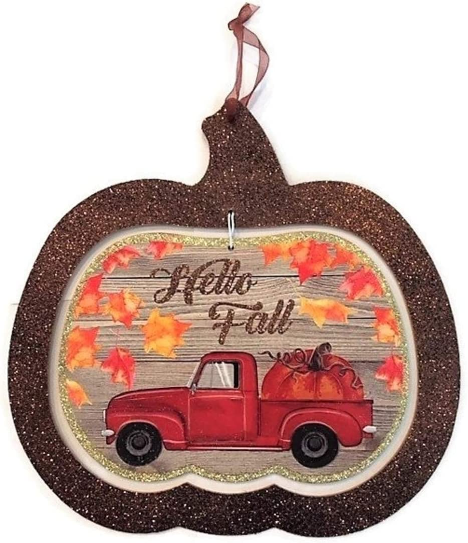 S&C Farmhouse Hello Fall Red Truck Wood Wall Sign, Autumn Decorations for Kitchen or Outdoor Patio Decor