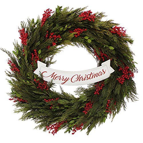 PND's Handcrafted Naturally Dried Organic Holiday Wreath: Merry Christmas Winter Wreath
