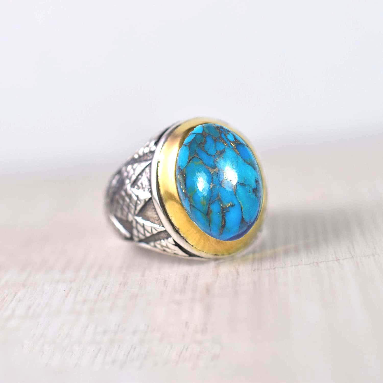 HandmadeA630 Copper Turquoise Ring Crown Design Turquoise Ring-92.5 Sterling Silver Ring size 9US Designer Blue Copper Turquoise Ring