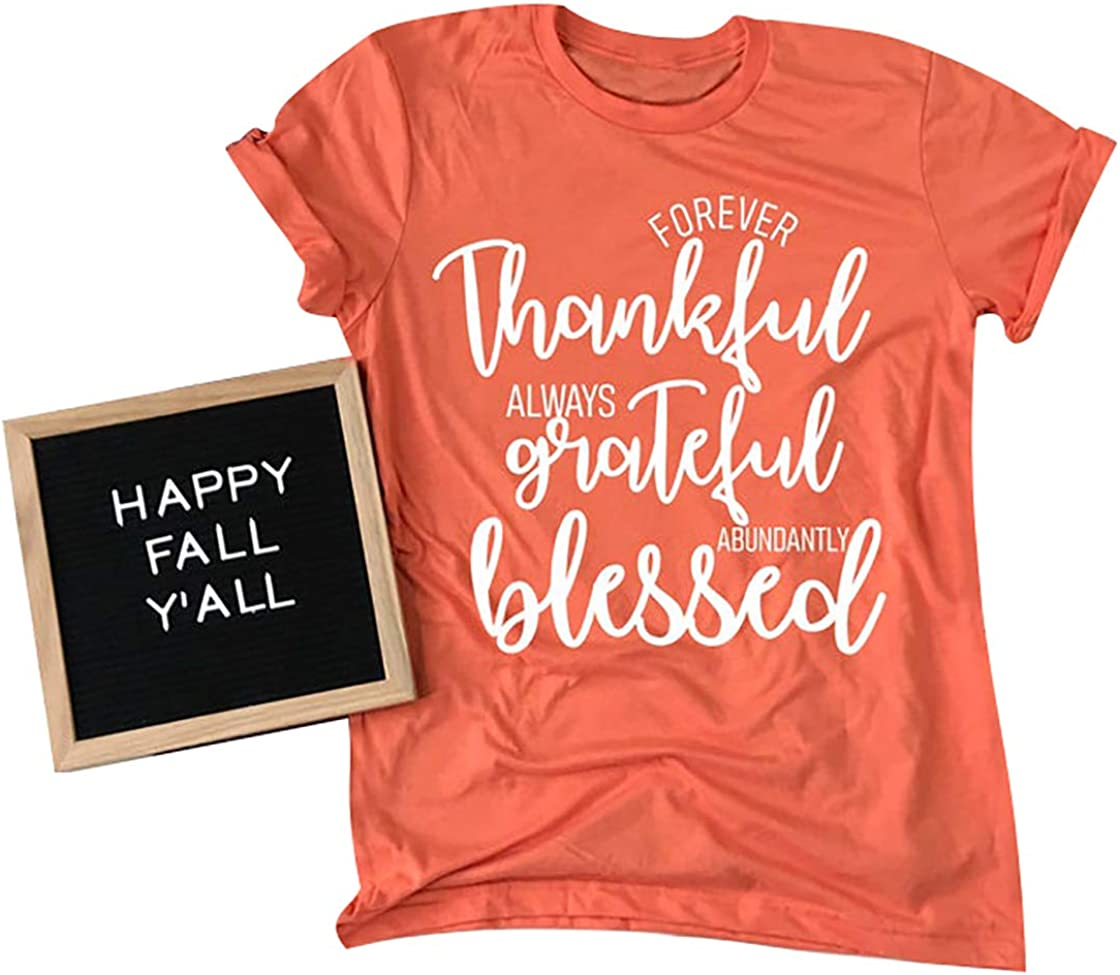 MAXIMGR Thankful Mama Plaid Shirt for Women Funny Thanksgiving T-Shirt Thankful Blesssed Shirt Tops