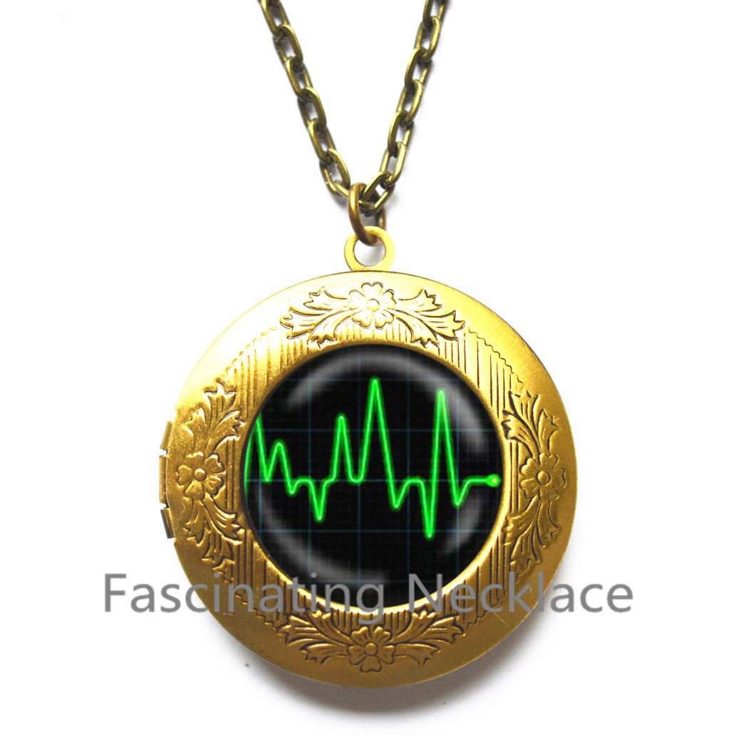 New Locket Necklace,Heartbeat Locket Pendant Locket Necklace Glass Art Print Jewelry Charm Gifts for Her or Him heart beat medical heart anatomy,AE0026