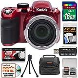 Kodak PIXPRO AZ421 Astro Zoom Digital Camera (Red) 16GB Card + Case + Flex Tripod + Kit