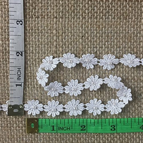 (Half Inch White Daisy Venise Lace Trim with Pear, Bohemian, Festival, Headband, Lot of 5 Yards)