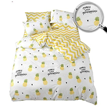 fbd27302cbaf XUKEJU 100% Cotton Soft Children Adults Duvet Cover Set Yellow White Fruits  Reversible