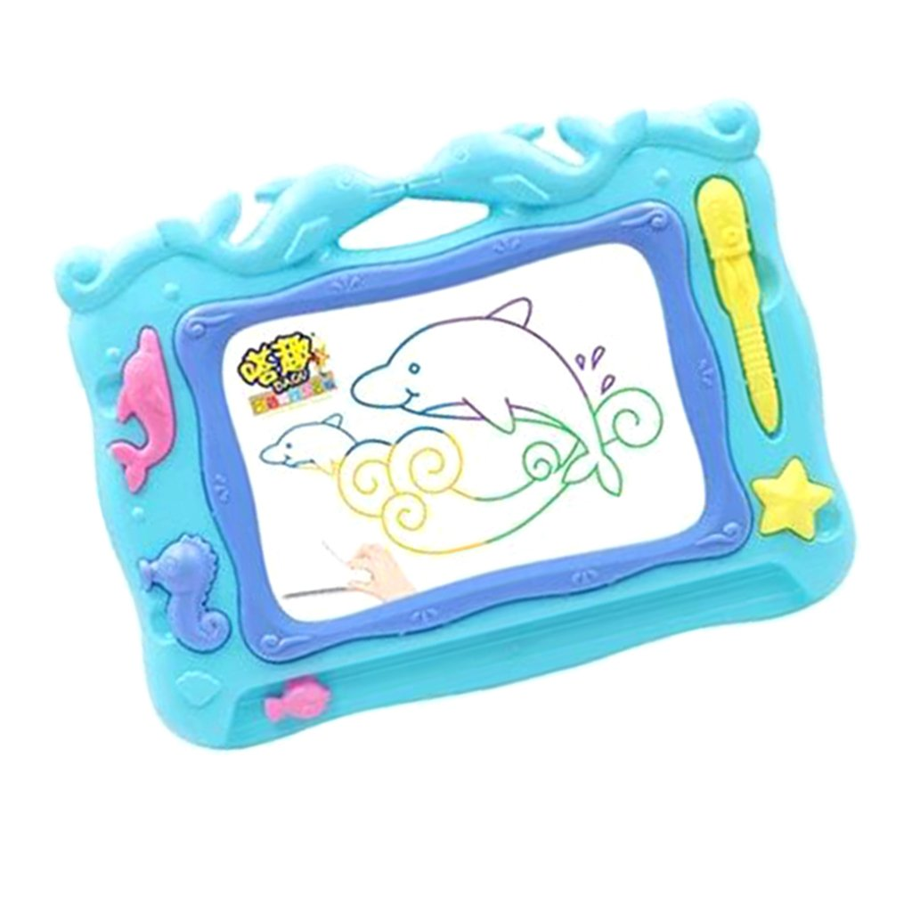 Baoblaze Creative Magic Dolphin Drawing Board with 3 Cute Stamps, Kids Doodle Painting Pad Educational Toy
