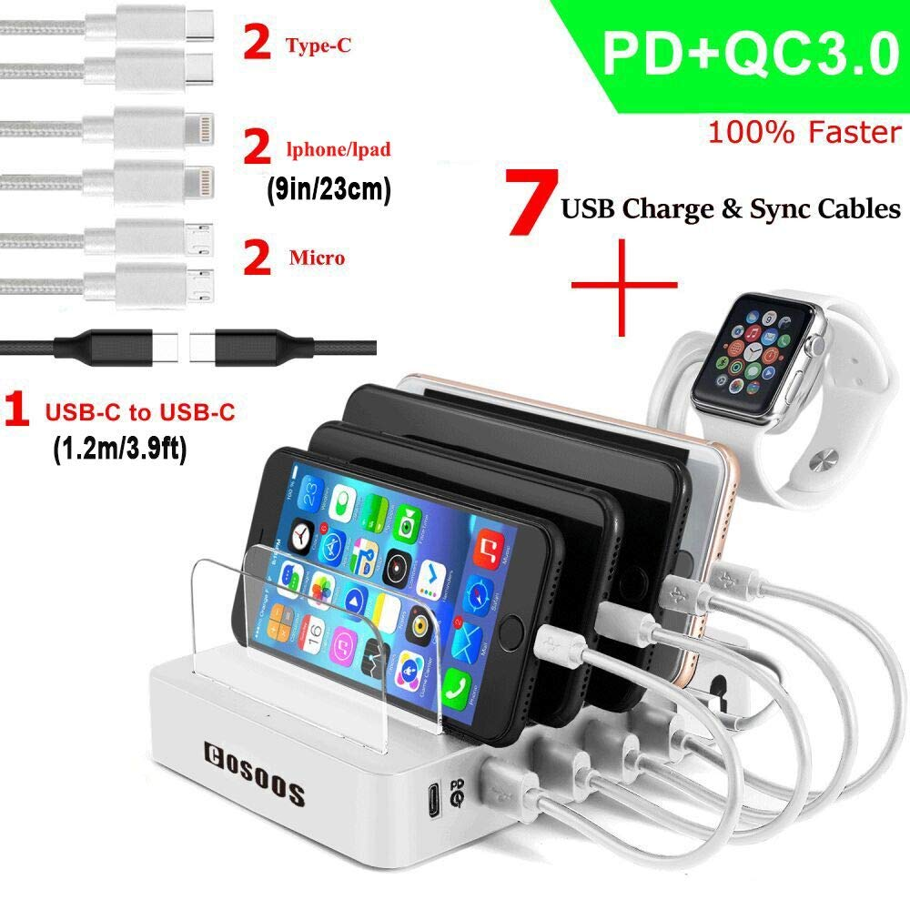 COSOOS Fastest Charging Station with Power Delivery and Quick Charge 3.0,Type C,7 USB Cable(4 Type),iWatch Holder,90W 6-Port PD Charger Station Organizer for Multiple Devices,Phone,USB-C Laptop-Silver