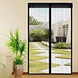 Extsud Magnetic Screen Door Polyester Magnetic Curtain Magic Paste Curtains Super Quiet Stripes Encryption for Anti Mosquito or Anti Pest Magnetic Soft Door 120 x 220cm Black