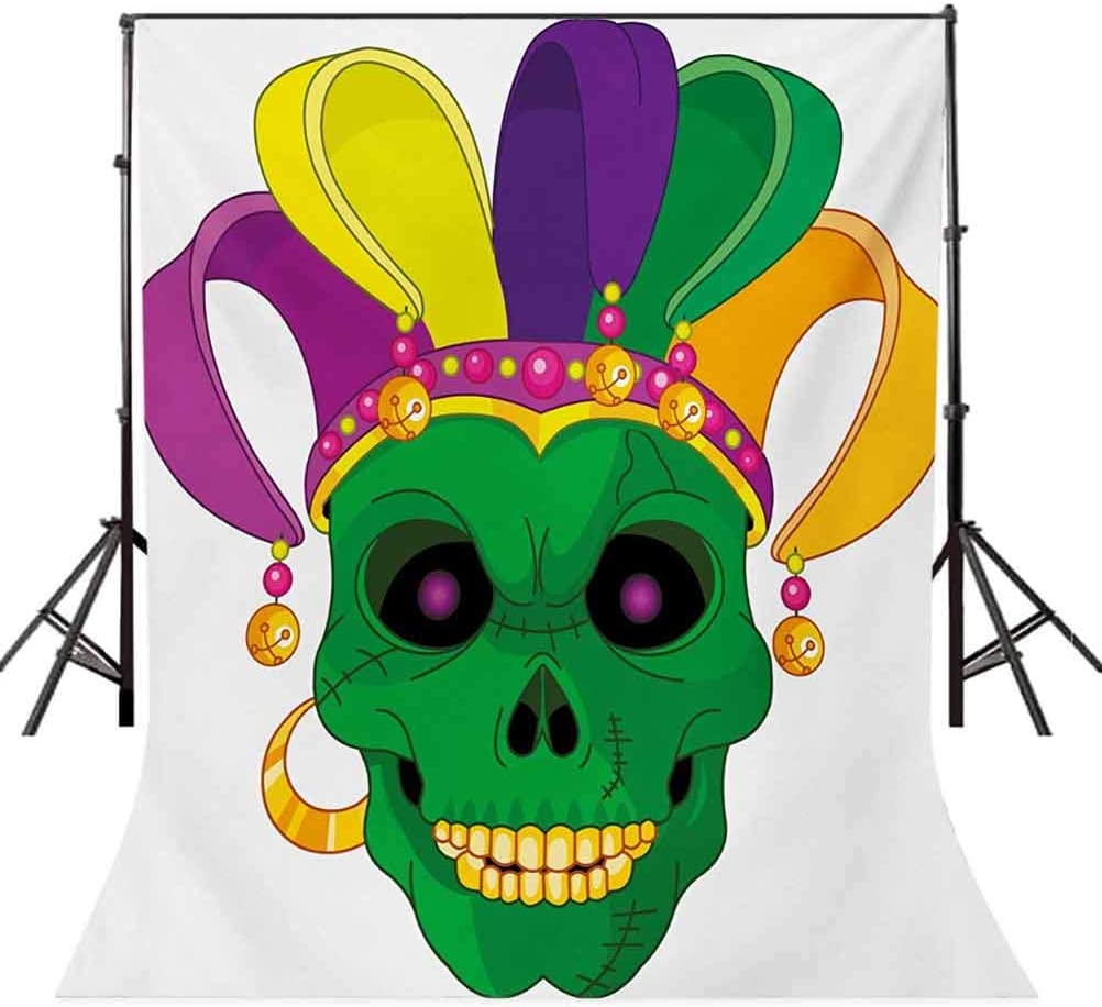Mardi Gras 6.5x10 FT Backdrop Photographers,Scary Looking Green Skull Mask with Carnival Hat Beads and Earring Cartoon Style Background for Baby Shower Bridal Wedding Studio Photography Pictures