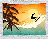 Ambesonne Grunge Tapestry, Illustration of Tropical Island Surfer on Sea Waves and Palms at Sunset, Wall Hanging for Bedroom Living Room Dorm, 60 W X 40 L Inches, Orange Turquoise Black