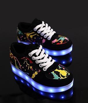 Graffiti LED-helle Schuhe Sommer und Herbst beiläufige Schuhe der Art und Weise sieben Farben ändern elf Arten des blinkenden Modus , black , 44