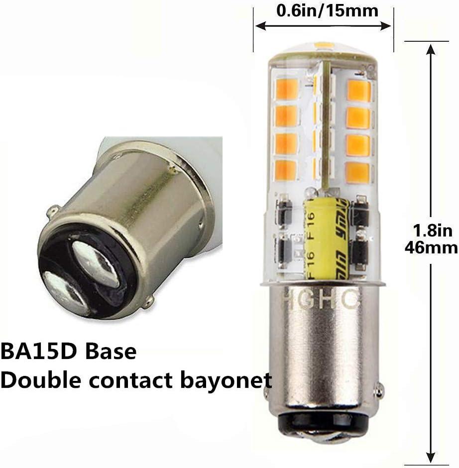 HGHC Ba15d Ampoule LED DC//AC 12V 5W Blanc Chaud 3000K,500lm /Équivalent 35W Double Contact Ba/ïonnette Ba15d 1141 1156 1073 1093 1129 Remplacement de LED pour lint/érieur RV Camping-Eclairage 2-Pack