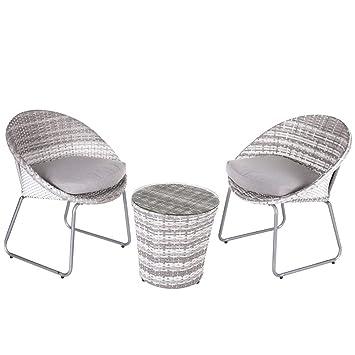 Conjunto de Mesa y sillas para terraza Gris de plástico Garden