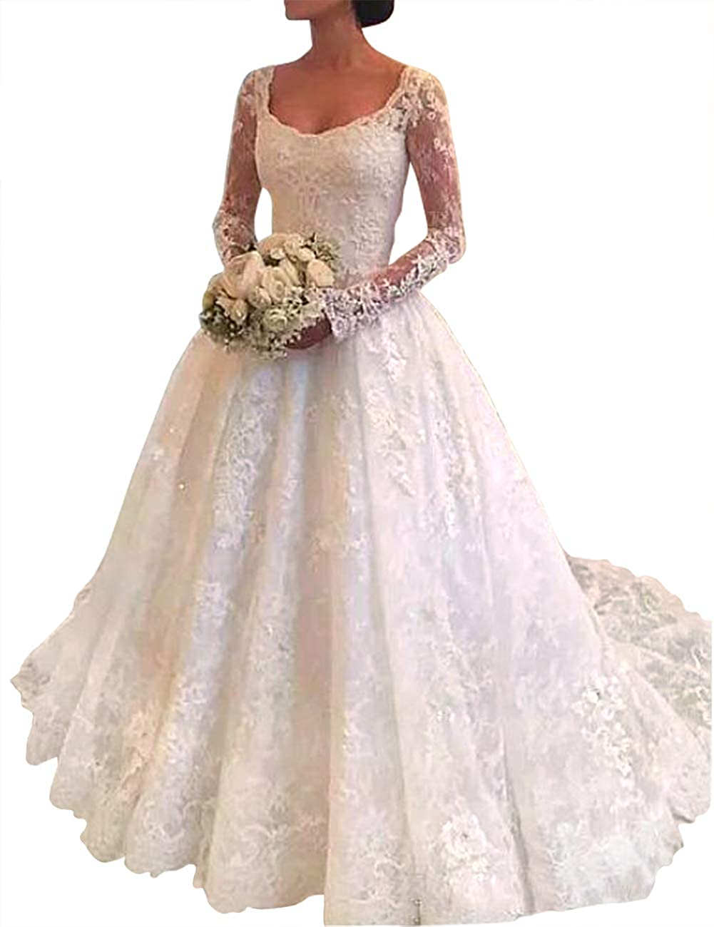 White H.S.D Wedding Dresses Lace Bridal Dresses Scoop Wedding Bridal Gowns Long Sleeves