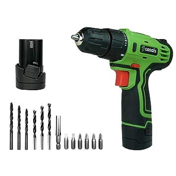 Casals VDLI12-2 - Taladro atornillador con batería de litio de 12 V (1,3 Ah, 750 rpm, 17 Nm, con batería adicional) color verde y negro