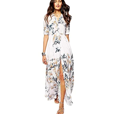 7abb14c34ac Romacci Women s Summer Sheer Chiffon Floral Sheer Cover Up Shirt Dress  Beachwear One Size White