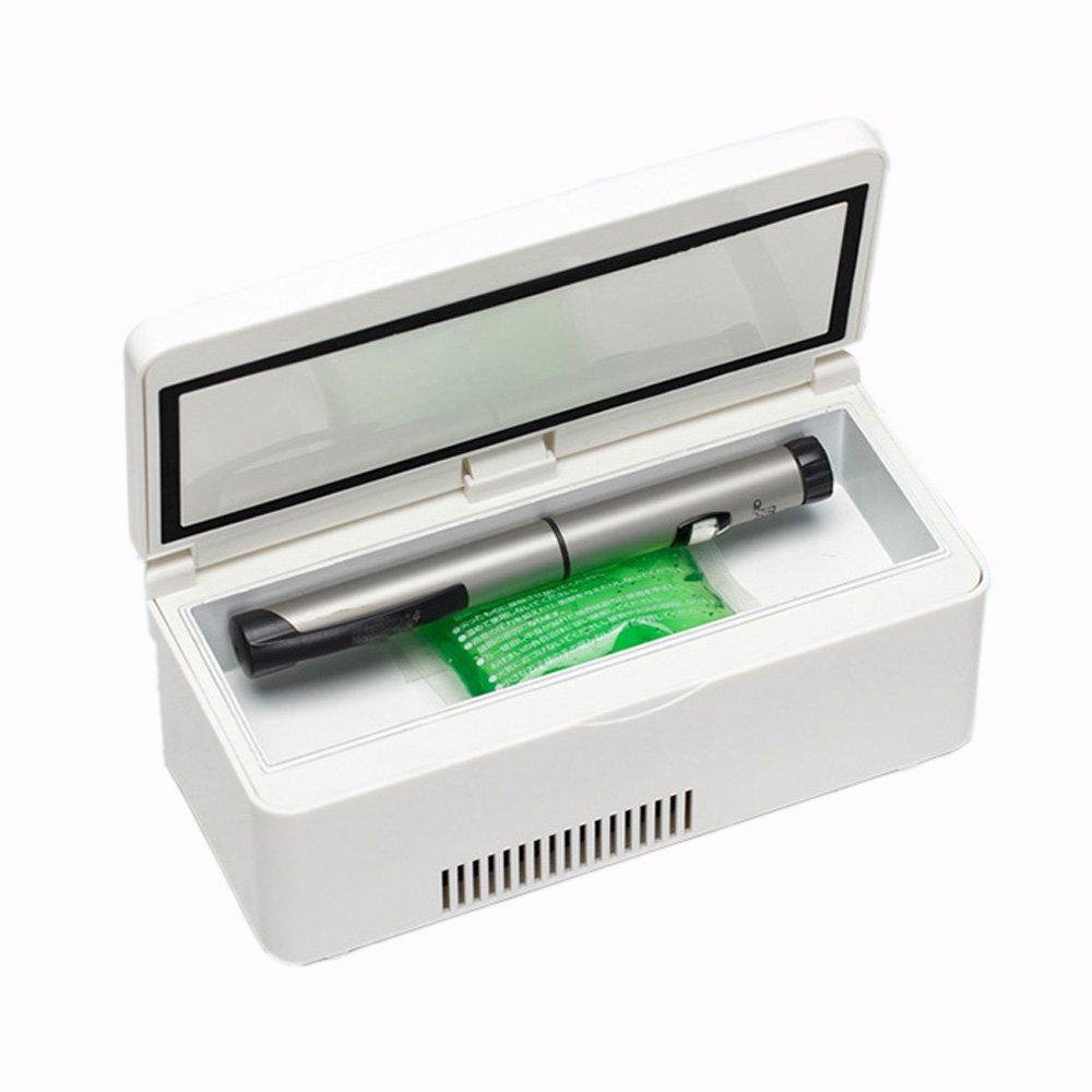 KJ4581 Medizin-Kühlschrank und Insulin-Kühler mit Temperatur-Kontrollsystem Tragbare Medikations-Kühlbox Für Reise-Auto-Insulin-Box (19,1X8,8X7,2Cm (7,52X3,46X2,83Inch)