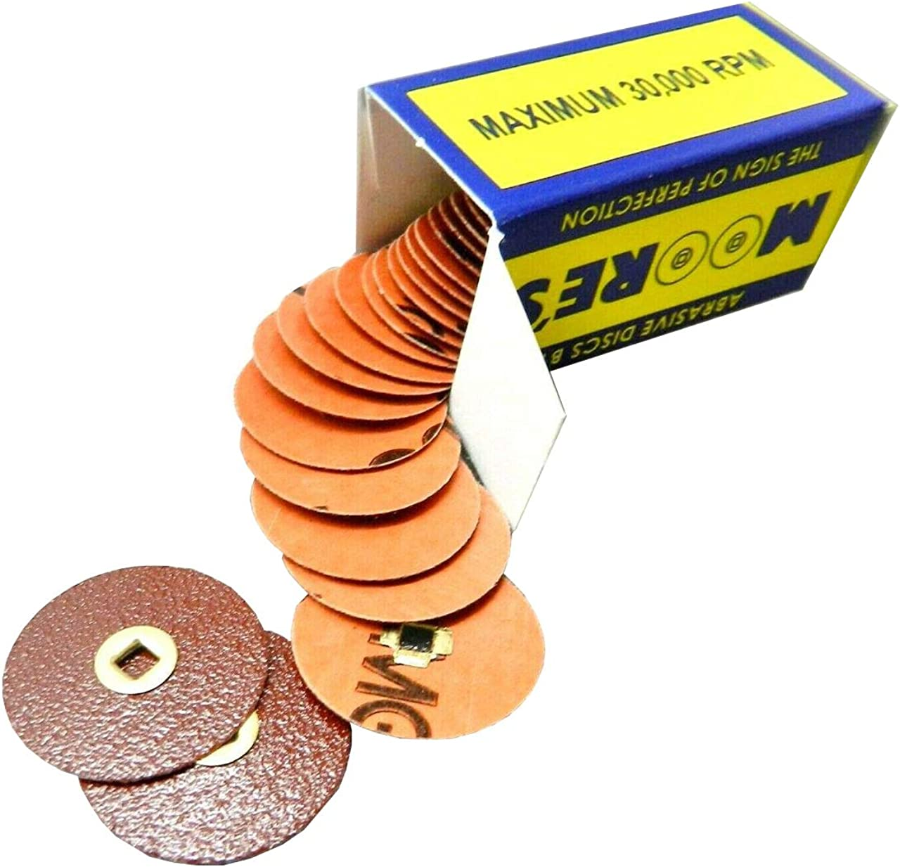 Course 50 Pcs//Pack Made in the USA Moores Snap-On Metal Center Abrasive Discs