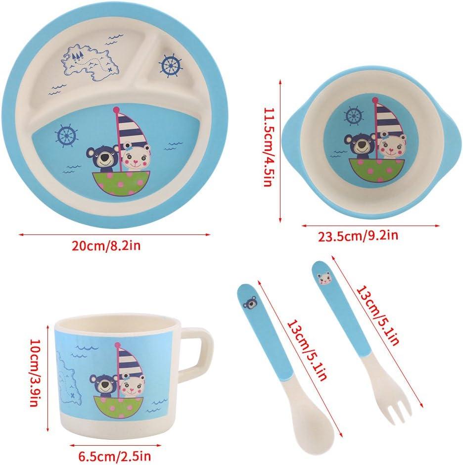 Zerodis 5 Pcs//Set B/éb/é Enfants Ensemble de Vaisselle Bambou Color/é Bande Dessin/ée Mignon Non Toxique et Eco Friendly sans BPA Saine Repas Set Bear Ocean