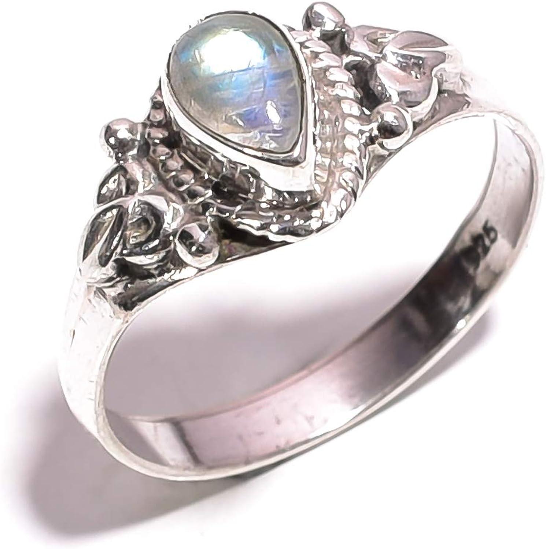 Mughal Gems & Jewellery - Anillo de Plata de Ley 925 con Piedra Natural de Luna, arcoíris y Piedra Preciosa, para Mujeres y niñas, tamaño 7,75