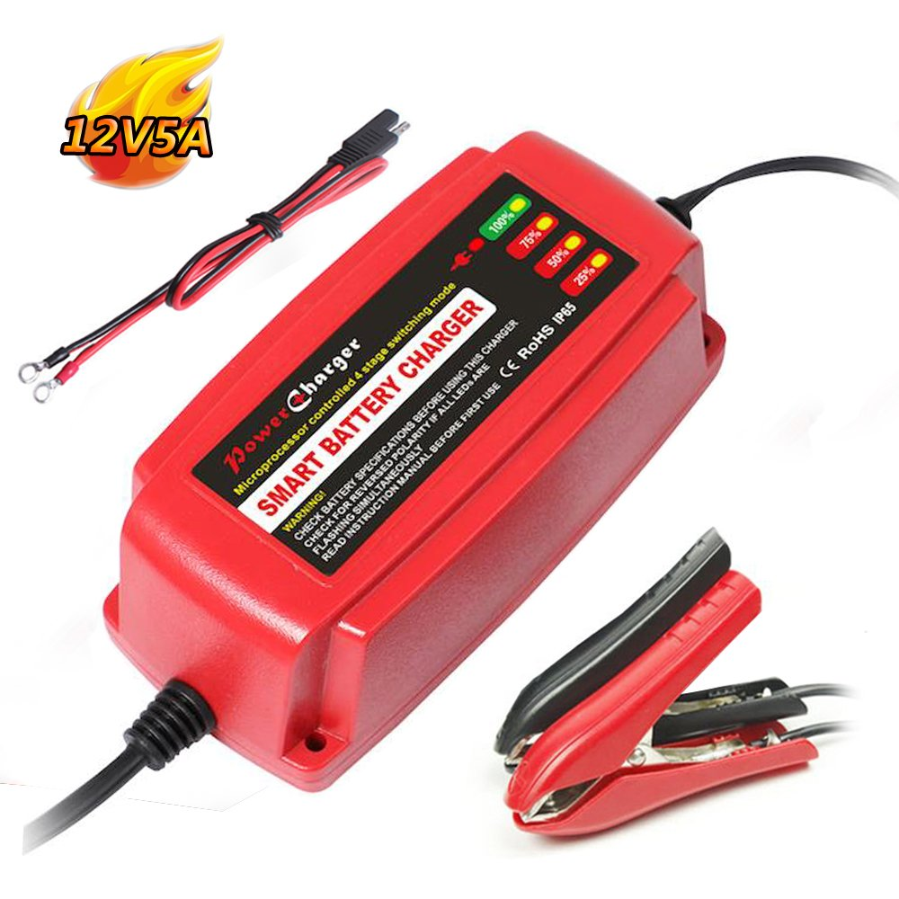 12V 5A Battery Charger 4-Stage CE Approved Smart Fast AGM/SLA/Gel Sealed Lead Acid Battery Charger Electric Lawn Mower or Garden Yishen
