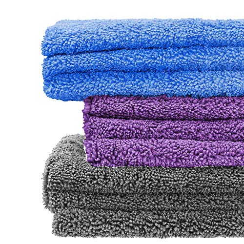 Shine Armor Professional Grade Super Absorbent Premium Microfiber Towels for Car Cleaning & Auto Detailing - Wax, Buff, Wash, Dry, Polish Assorted Colors (10-Pack)