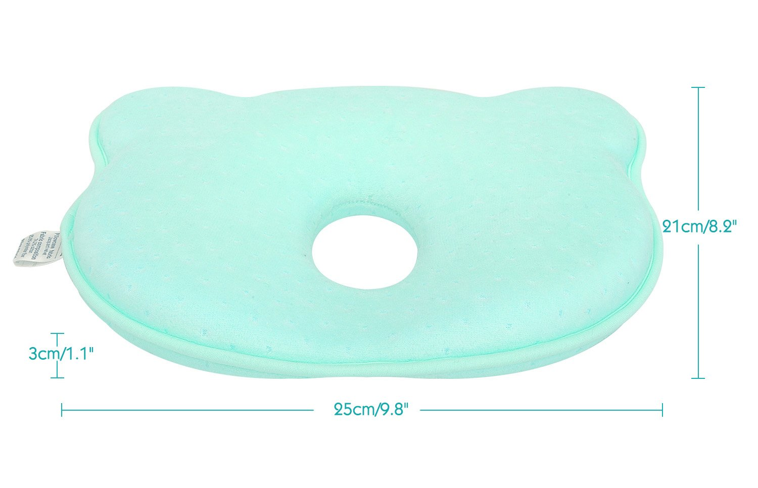 Bear Pink Memory Foam Protective Head Shaping Pillow and Soft Velvet Pillowcase for Baby Newborn Infant Toddler Kids Zooawa Baby Pillow