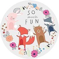 Sanwooden Cartoon Animal Printed Non-slip Living Room Floor Carpet Kids Play Mat Home Decor