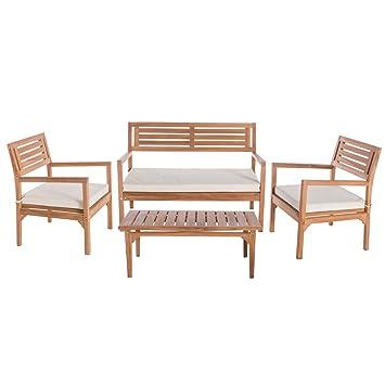 Conjunto de Muebles con Textil Blanco de Madera de Teca para ...