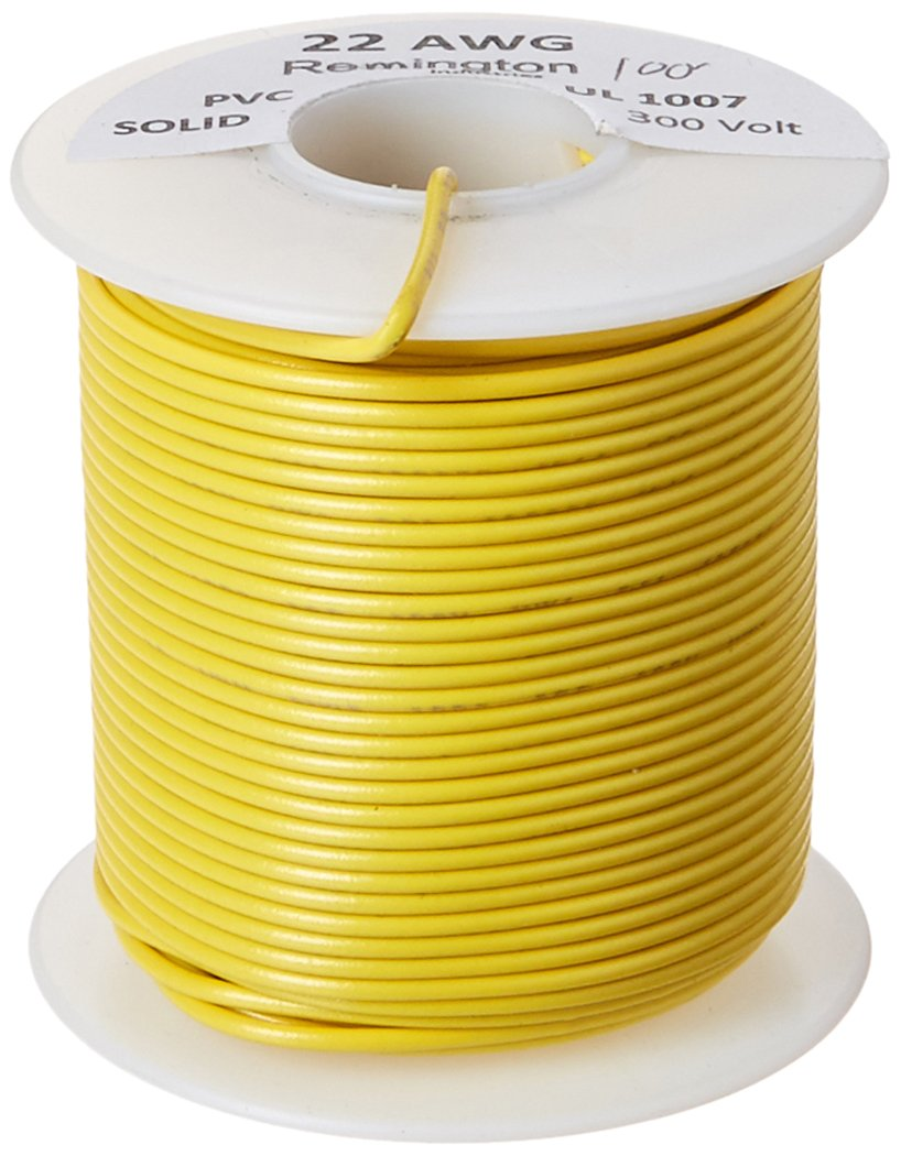 Remington Industries 22UL1007SLDYEL UL1007 22 AWG Gauge Solid Hook-Up Wire, 300V, 0.0253'' Diameter, 100' Length, Yellow